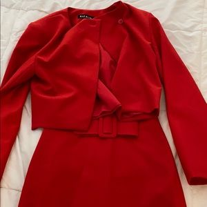 Red skirt and blazer suit set